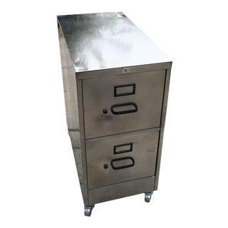 Vintage Brushed & Polished Steel File Cabinet