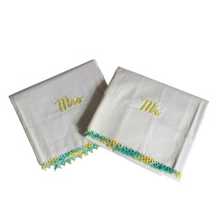 Vintage Mr. & Mrs. Pillowcases - A Pair