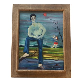 Vintage Modernist Painting Girl With Baloon
