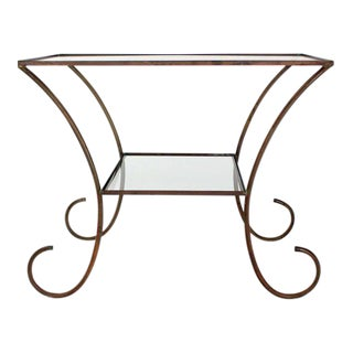 Deco Style Solid Brass Serving Console Hall Table circa 1930s