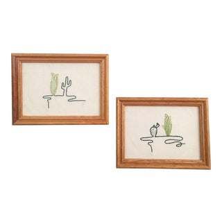 Framed Cactus Embroideries - A Pair