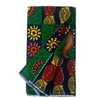 Green & Blue African Dutch Wax Fabric - 6 Yards