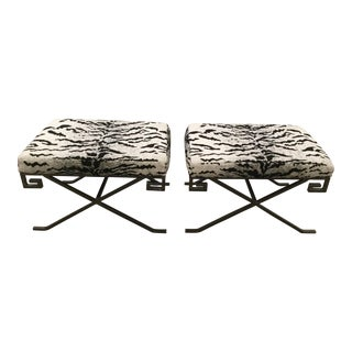 Benches With Schumacher Chenille Tiger Upholstery - A Pair