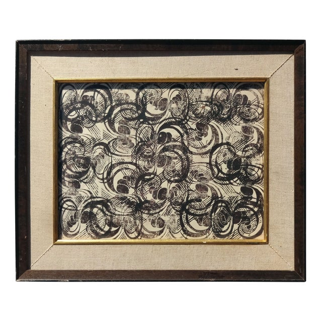 """Image of 1960s """"Repeating Forms"""" Woodcut Print"""