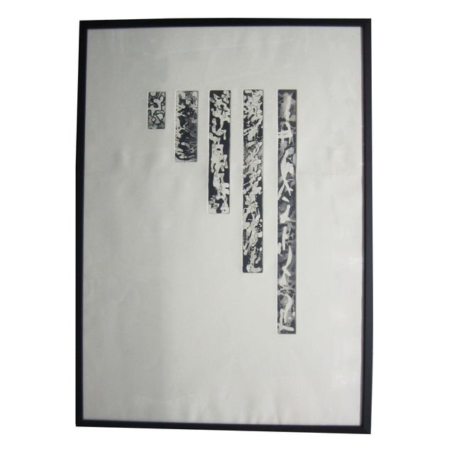 Image of Abstract Lithograph in Black Frame