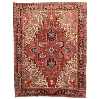 RugsinDallas Hand Knotted Wool Persian Heriz Rug - 7′ × 9′