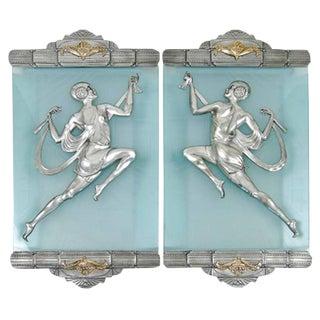 Affortunato Gory Style Art Deco Flapper Bronze Sconces - A Pair