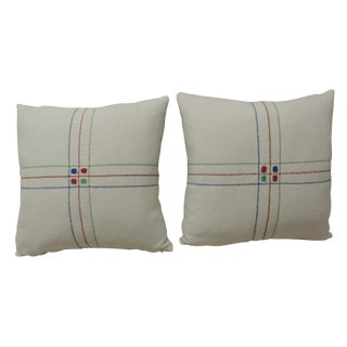 Vintage Swedish Linen Pillows - A Pair