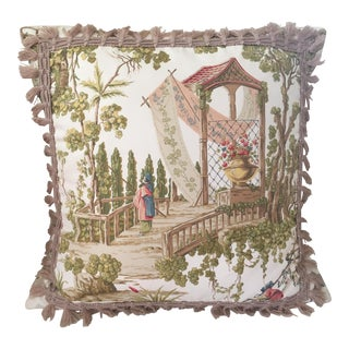 Chinoisserie Accent Pillow With Cotton Jute Trim