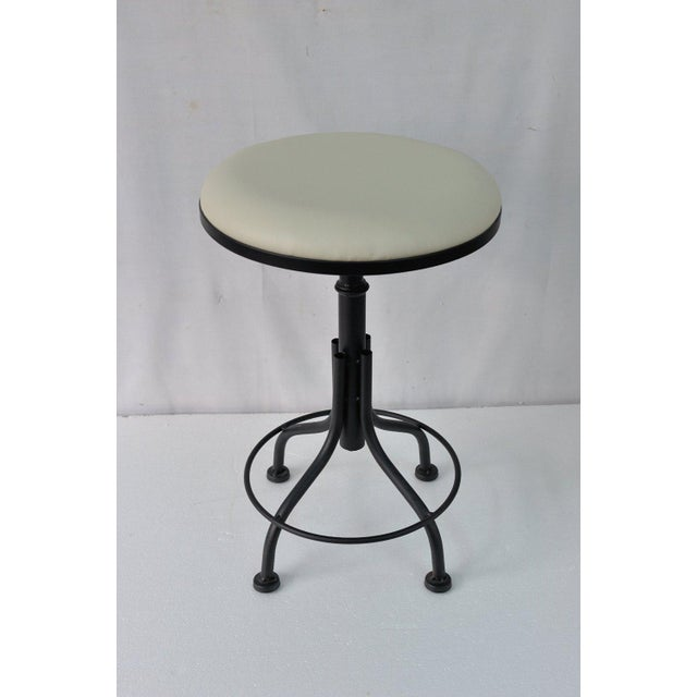 Round Leather Stool with Metal Legs - Image 2 of 7