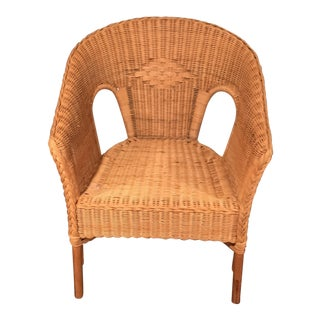 Natural Wicker Chair With Braided Wicker Trim