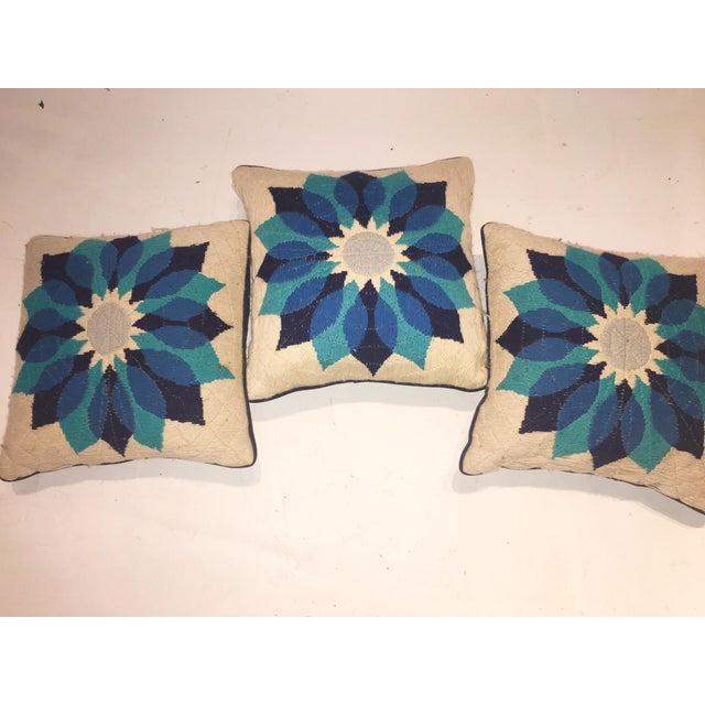 Rare Jonathan Adler Blue Flower Pillows - Set of 3 - Image 3 of 6