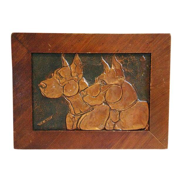 Mid-Century Copper Great Dane Dog Plaque - Image 1 of 4