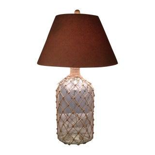 Vintage Bottle & Woven Jute Net Table Lamp
