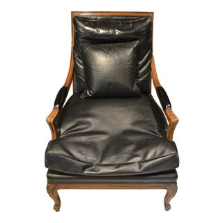 Vintage Black Leather Upholstered Bergere Chair