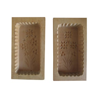 Hand-Carved Butter Molds - A Pair