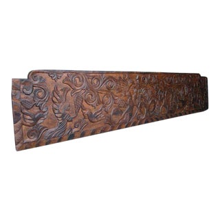 19th Century Antique Primitive, Carved Rustic Wooden Panel or Headboard