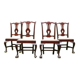 Vintage Chippendale Ball & Claw Foot Dining Chairs - Set of 4