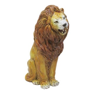 Italian Terra Cotta Lion Statue