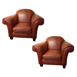 Broyhill Mahogony Leather Club Chairs - Pair