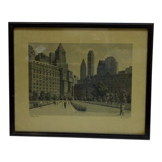 "Vintage Original Framed Print ""Battery Park"" by Fermin Rocker"