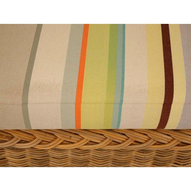 "Vintage Italian Les Toiles Du Soleil Upholstered ""Wicker Works"" Bench - Image 6 of 11"