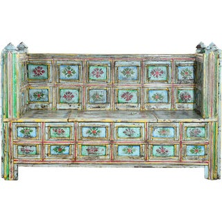 Garden Green Hand-Painted Wooden Sofa