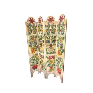 Mid-Century Solid Wood, Hand Made Spanish Folding Room Divider / Screen With Floral Motifs