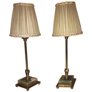 Vintage Brass & Marble Table Lamps - A Pair