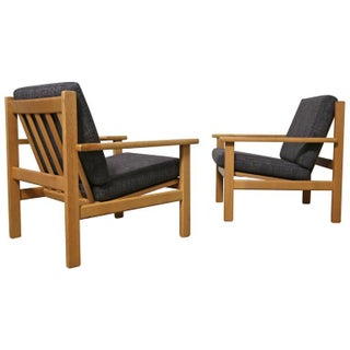Hans Wegner Oak Lounge Chairs - Pair