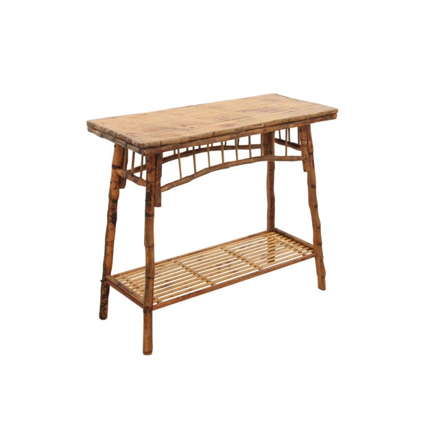 Carved English Style Bamboo Hall Table - Image 2 of 6