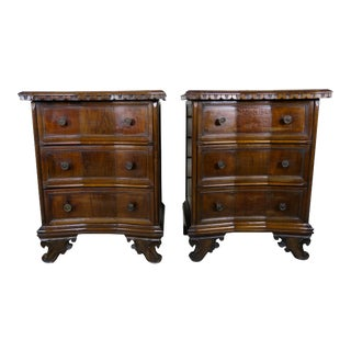 Pair of Italian Baroque Walnut Chests