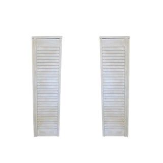 Cottage Wood Shutter Pedestals - A Pair