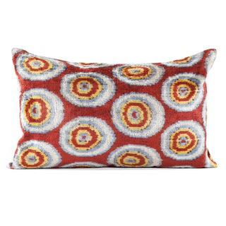 Red and Yellow Vintage Silk Velvet Ikat Pillow