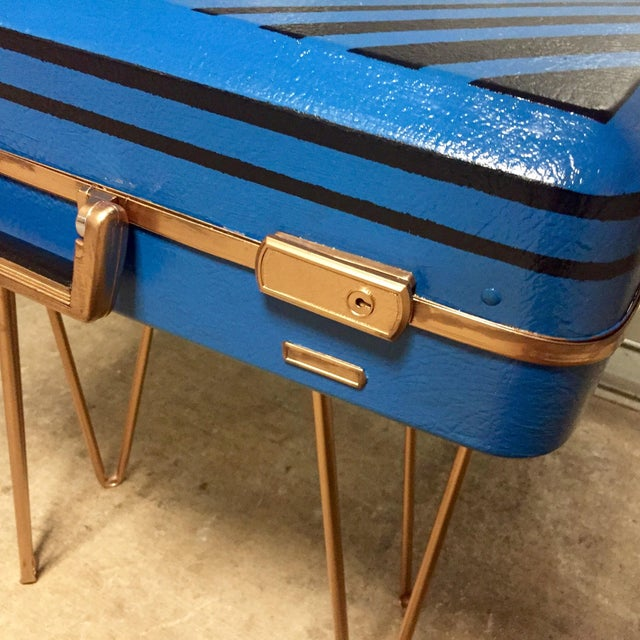 Vintage Retro Blue Suitcase Table - Image 4 of 7