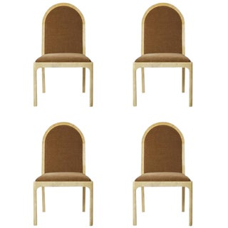 1970s Vintage Enrique Garcel Mohair & Lacquered Goatskin Wrapped Chairs - Set of 4