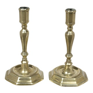 A Pair of French Huguenot Brass Candlesticks