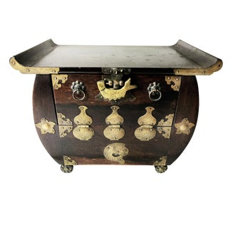 Antique Chinese Handcrafted Rosewood & Etched Brass Box/Chest