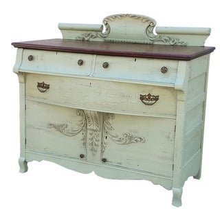1800s White Oak Victorian Shabby Chic Style Sideboard