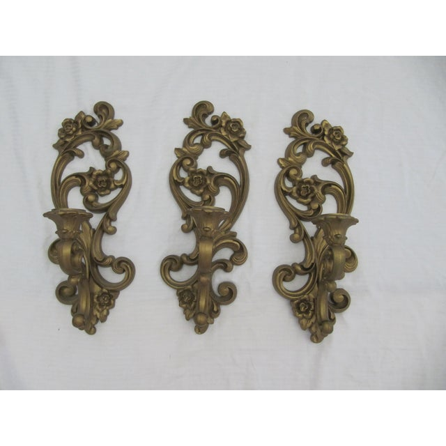 Homoco Gold Candle Sconces - Set of 3 - Image 2 of 6