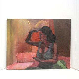 Original Oil on Canvas Painting Woman in Bedroom
