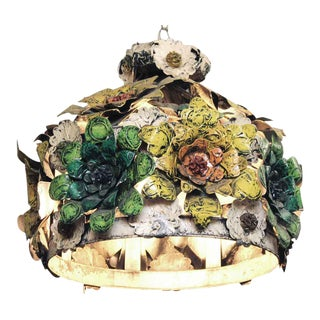 1960s Metal Floral Painted Light