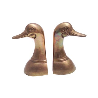 Vintage Mid-Century Brass Duck Bookends