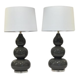 Gray Gourd Lamps - A Pair