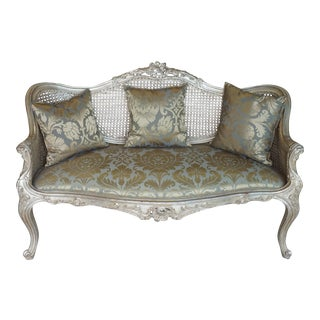 Hand Carved Silver European Settee