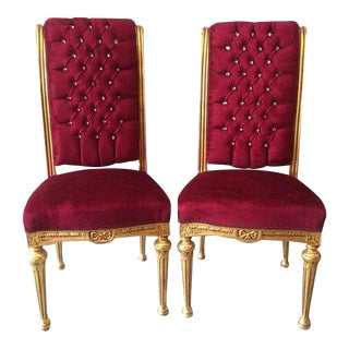 French Louis XVI Royal Red Chairs - A Pair