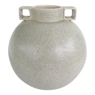 French Craquelure Glaze 2-Handle Ceramic Vase