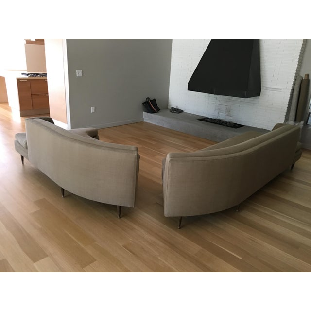 Mid-Century Linen Upholstered Two Piece Setional Sofa - Image 8 of 9