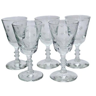 French Fleur-de-Lis Liqueur Glasses - Set of 5