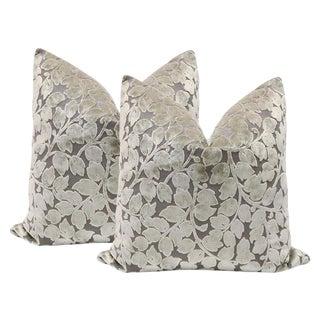 "20"" Leaf Cut Velvet Pillows in Taupe - A Pair"